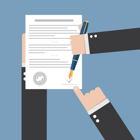 Illustration pour agreement icon - hand signing contract on white paper - image libre de droit