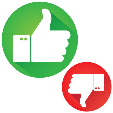 Illustrazione per Thumbs Up and Thumbs Down - Immagini Royalty Free