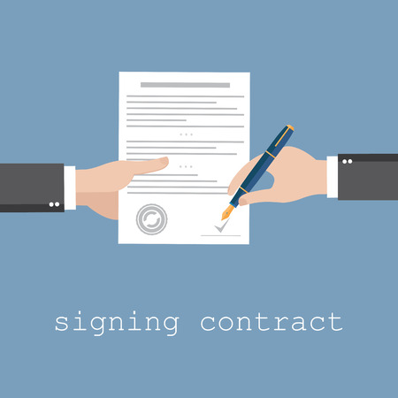 Illustration pour Vector agreement icon - hand signing contract on white paper - image libre de droit