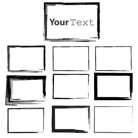 Ilustración de Set of Grunge Black  Frames - Imagen libre de derechos