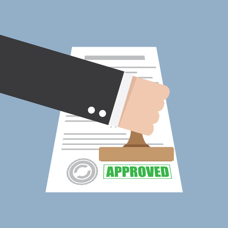 Illustration pour Approved stamp in hand businessman - image libre de droit