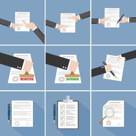 Illustration pour Vector agreement icon - hand signing contract - image libre de droit