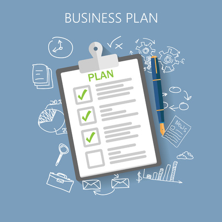 Illustration pour Business plan Flat vector illustration - image libre de droit
