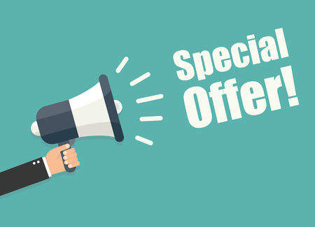 Ilustración de Hand holding megaphone - Special offer - Imagen libre de derechos
