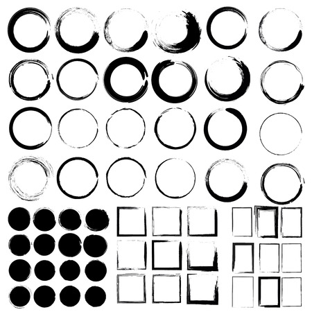 Ilustración de Vector set of grunge circle brush and Grunge Black Frames. Mega set - Imagen libre de derechos