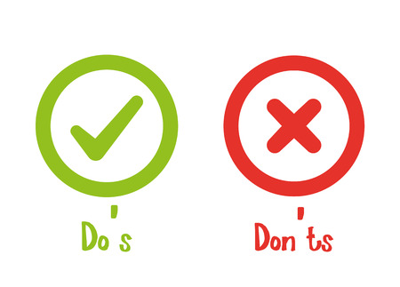 Illustration pour Do's and Don'ts with Tick and Cross - image libre de droit