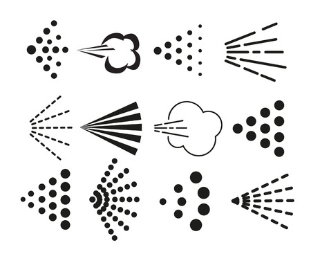 Illustration pour Spray icons set. Simple black fluid spray cloud symbols. - image libre de droit