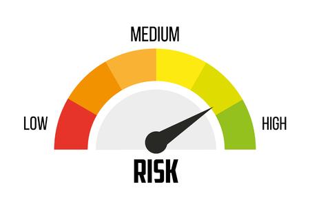 Illustration pour Risk concept on speedometer. Vector icon - image libre de droit