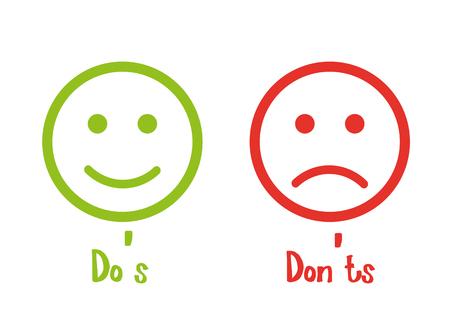 Illustration pour Do's don'ts signs smile - image libre de droit