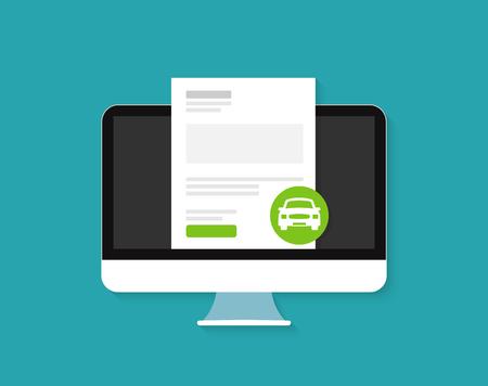 Illustration pour Car loan approved document online - image libre de droit