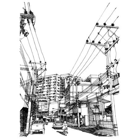 Ilustración de City street sketchbook - Imagen libre de derechos