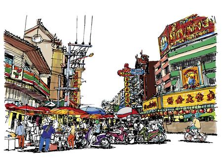 Ilustración de Street market sketchbook style. - Imagen libre de derechos