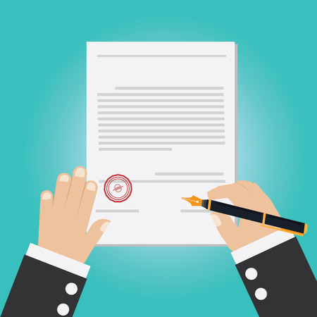 Illustration pour Vector of hand signing contract - image libre de droit