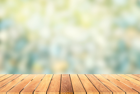 Photo for wooden platform with blur bokeh background - Royalty Free Image
