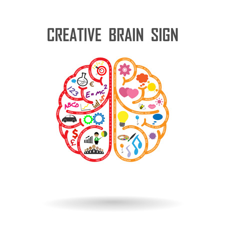 Ilustración de Creative left and right brains Idea concept .vector illustration - Imagen libre de derechos