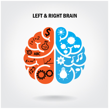 Ilustración de Creative left brain and right brain Idea concept background  vector illustration - Imagen libre de derechos