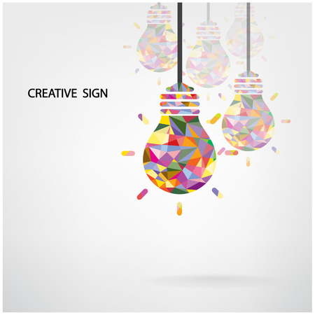 Ilustración de Creative light bulb Idea concept background design for poster flyer cover brochure  - Imagen libre de derechos