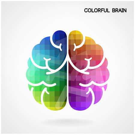 Illustration for Creative colorful left brain and right brain Idea concept background  - Royalty Free Image