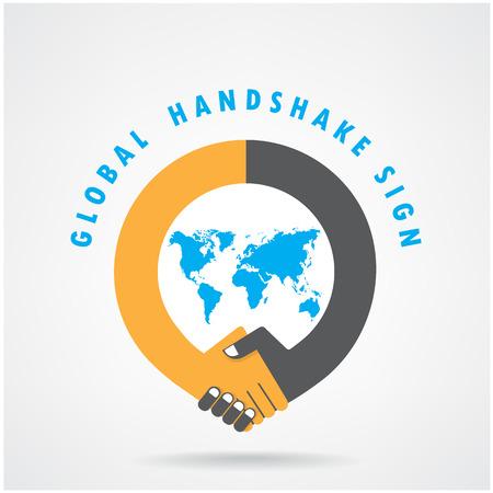 Ilustración de Handshake abstract sign vector design template. Business creative concept. - Imagen libre de derechos