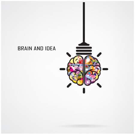 Ilustración de Creative brain Idea and light bulb concept, design for poster flyer cover brochure, business idea, education concept.vector illustration - Imagen libre de derechos