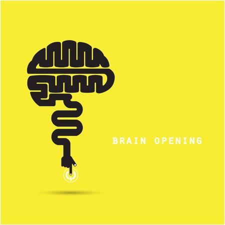 Illustrazione per Brain opening concept.Creative brain abstract vector design template. - Immagini Royalty Free