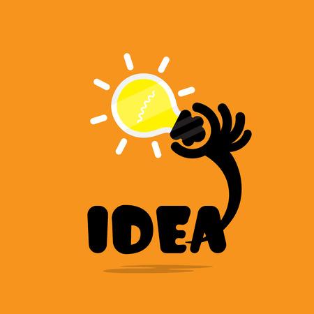 Illustration pour Creative bulb light idea,flat design.Concept of ideas inspiration, innovation, invention, effective thinking, knowledge and education. Business and concept and businessman hand.Creative Vector Typography Concept. Inspirational work and success business qu - image libre de droit