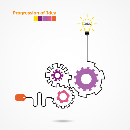 Illustration pour Creative light bulb idea concept and computer mouse symbol. Progression of idea concept. Business, education and industrial idea. Vector illustration - image libre de droit