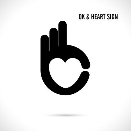 Illustration pour Creative hand and heart shape abstract logo design.Hand Ok symbol icon.Corporate business creative logotype symbol.Vector illustration - image libre de droit