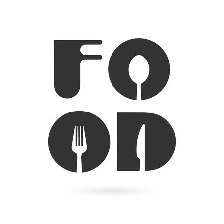 Ilustración de Creative food word elements design with spoon,knife and fork.Fast food, food and drink concept.Vector illustration - Imagen libre de derechos