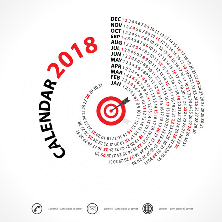 Illustration for 2018 Calendar Template.Spiral calendar.Calendar 2018 Set of 12 Months.Vector design stationery template.Week starts Monday. - Royalty Free Image