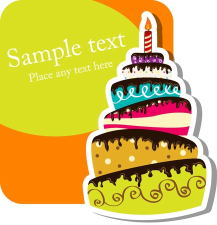 Illustration for Vector picture with birthday cake - Royalty Free Image