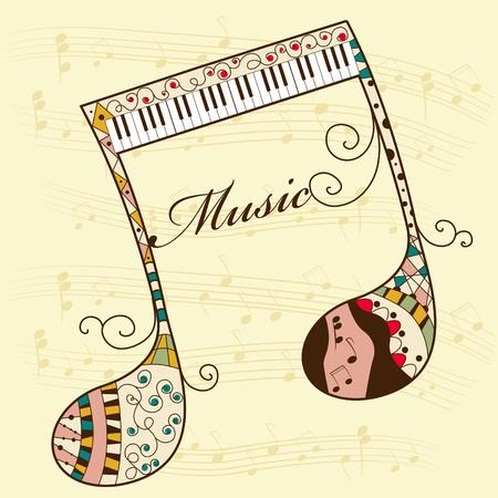 Photo pour Vector musical background with note - image libre de droit