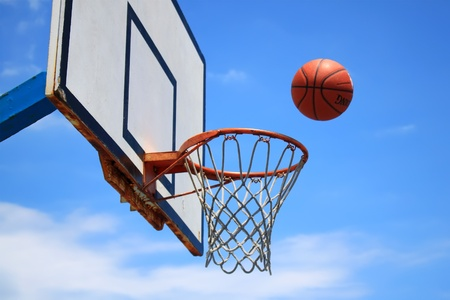 Photo of basketball hoop and blue sky in background