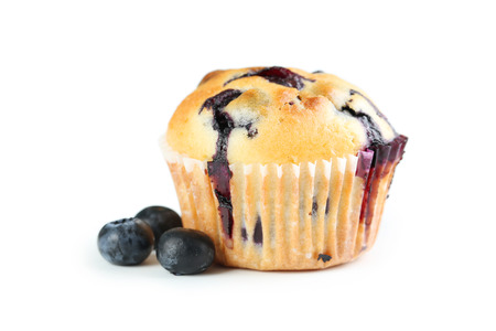 Photo for Tasty blueberry muffin isolated on a white - Royalty Free Image