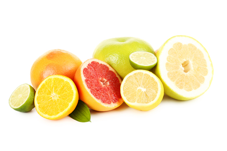 Photo pour Citrus fruits on a white background - image libre de droit