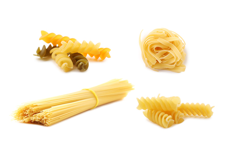 Photo pour Collage of different dry pasta on white background - image libre de droit