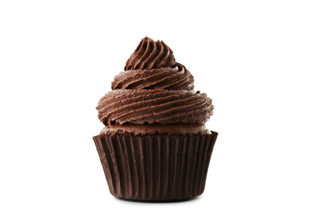 Photo for Chocolate cupcake isolated on white background - Royalty Free Image
