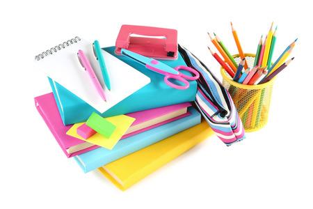Foto de School supplies on white background - Imagen libre de derechos
