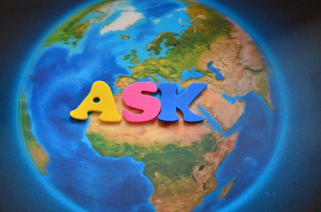 Photo for word ask on an abstract background - Royalty Free Image