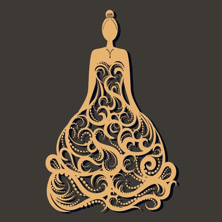 Ilustración de Ornate wedding dress laser cut. Template for greeting card ,wedding, invitation, gift card; bookmark and label with space for your text. Vector illustration design. - Imagen libre de derechos