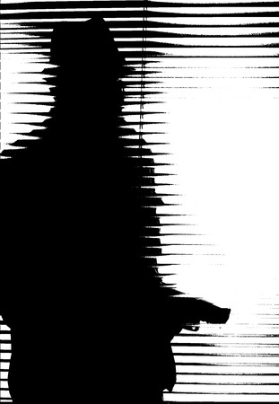 Photo for silhouette of an armed man behind blinds - Royalty Free Image