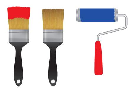 Ilustración de Brush for paint and the roller for paint. Tool. Elements for design. - Imagen libre de derechos