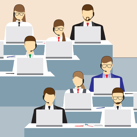 Illustration pour Men and women working in a call center. Call center. Support service. Concept. Elements for design. Vector illustration. - image libre de droit