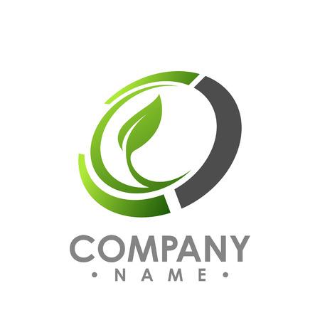 Illustrazione per Nature logo for health company icon concept. Circle leaf logo concept design. Creative circle logo concept design. Vector illustration - Immagini Royalty Free