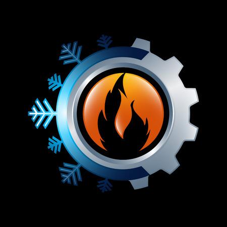 Illustration pour Snowflake and sun symbol for air conditioning and ventilation - image libre de droit