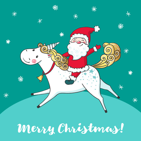 Illustration for Greeting card with cute unicorn and Santa Claus. - Royalty Free Image