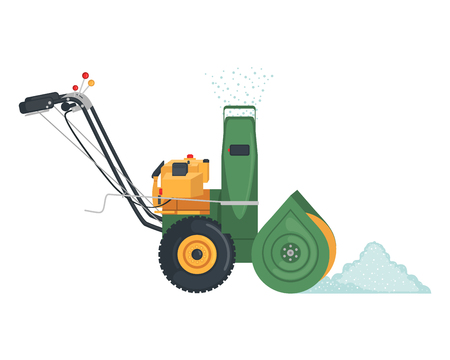 Illustration pour Green Snowblower icon in flat style isolated on white background. Vector illustration. - image libre de droit