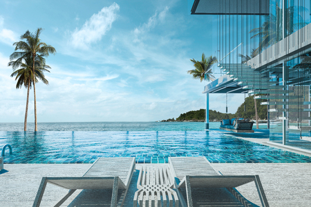Photo pour Beautiful view of Swimming Pool with  the sea at sunlight  - 3d rendering - image libre de droit