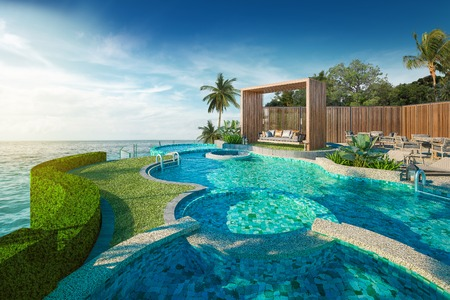 Photo pour Beautiful view of Swing sofa on the Swimming Pool with  the sea at sunlight  - 3d rendering - image libre de droit