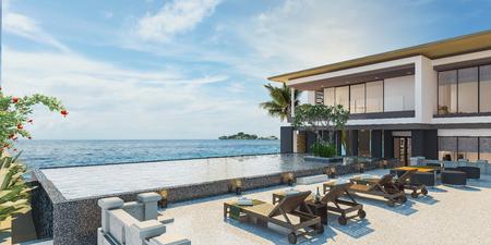 Photo for Sea view swimming pool in modern loft design,Luxury ocean Beach house, 3d rendering - Royalty Free Image